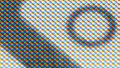 Ein OLED-Panel mit Pentile-Matrix in der Nahaufnahme