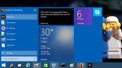 Das Startmenü wird in Windows 10 mit Modern UI vereint.
