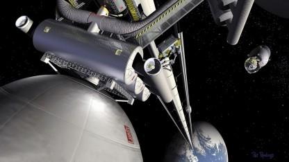 Weltraumaufzug (Symbolbild): Eine fehlerhafte Atombindung lässt das Seil reißen.