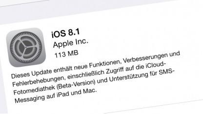 iOS 8.1 mit zahlreichen Fehlerbehebungen