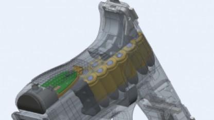 Sensor mit grüner Platine im Griff einer Glock.