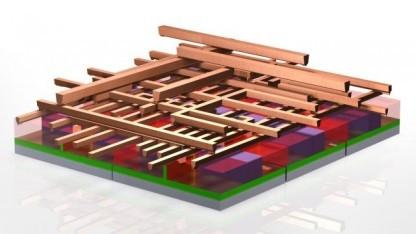 Die Metal-Layer eines Prozessors werden durch Interconnects verbunden