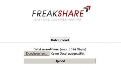Homepage von Freakshare