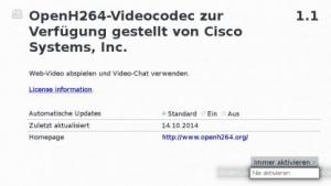 Das OpenH.264-Plugin lässt sich deaktivieren und auch deinstallieren.