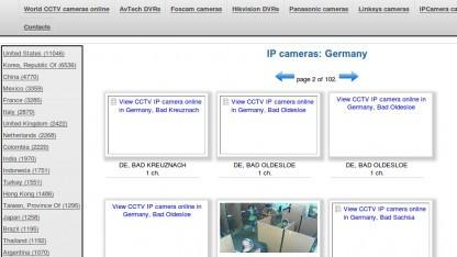 Auf einer Webseite sind Livebilder Tausender Webcams zu sehen.