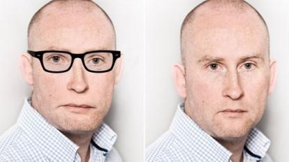 Der Autor rechts im Original und links so verfremdet, dass zumindest die Gesichtserkennung von Android ihn nicht mehr erkennt.