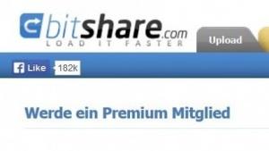 Homepage von Bitshare