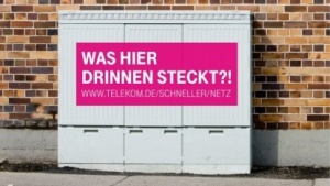 Werbung am Kabelverzweiger der Telekom