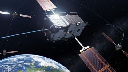 Galileo-Satellit: hochpräzise Atomuhren. zwei Höhenänderungen am Tag