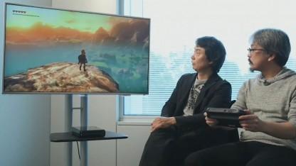 Miyamoto und Aonuma spielen Zelda für Wii U.