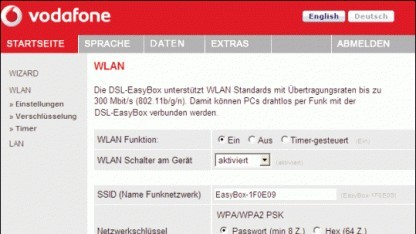 Vodafone empfiehlt den Nutzern die Änderung der voreingestellten Konfiguration.