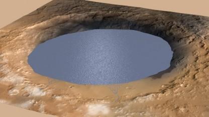 Marskrater Gale als See: wiederholt verdunstet und wieder gefüllt