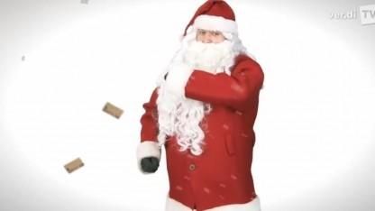 Der Verdi-Weihnachtsmann wünscht einen gesegneten Arbeitskampf.