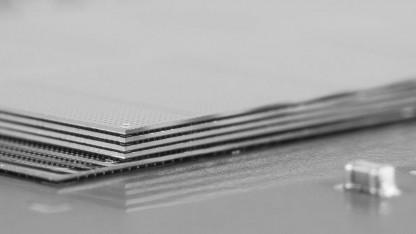 Vier gestapelte Dies eines Speicherchips für einen Hybrid Memory Cube
