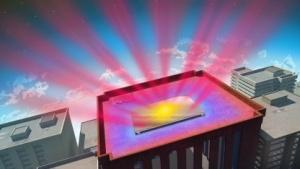 Spezialspiegel auf einem Hausdach: zweifache Wirkung