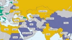 In den blau gefärbten Staaten ist es um die Freiheit des Netzes nicht gut bestellt.