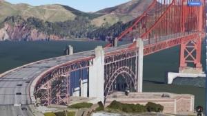 Die Golden Gate Bridge ist 3D, die Autos sind Farbkleckse.