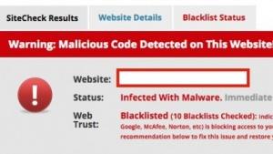 Warnung des Onlinescanners von Sucuri