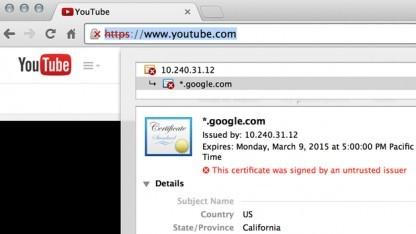 Die Browserwarnung vor dem nicht vertrauenswürdigen SSL-Zertifikat.