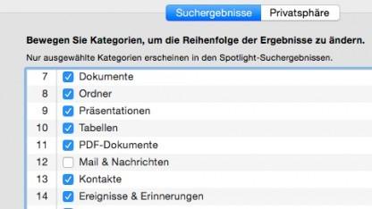 Um das Nachladen von HTML-Inhalten durch Spotlight zu verhindern, muss die E-Mail-Indexierung deaktiviert werden.