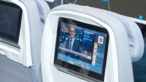 Im Vordersitz eingebautes In-Flight-Entertainment-System mit Android