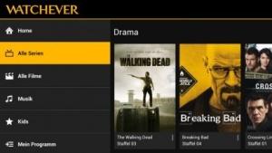 Startseite für Serien bei Watchever auf einem bisher Zombie-freien Android-Tablet