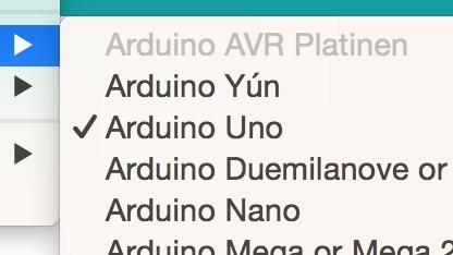 Das Board-Menü der Arduino IDE