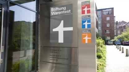 Gebäudeeingang der Stiftung Warentest in Berlin
