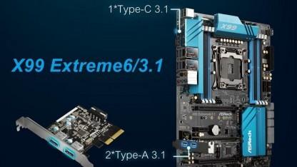 Das X99 Extreme6/3.1 bietet einen integrierten USB Typ C und eine Steckkarte.