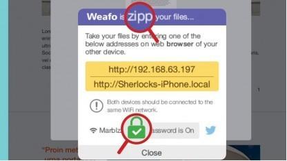Weafo macht auf dem iOS-Gerät einen Webserver auf.