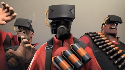 Figuren aus Team Fortress 2 mit VR-Brille