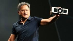 Jen-Hsun Huang hält eine Geforce GTX Titan Z hoch.