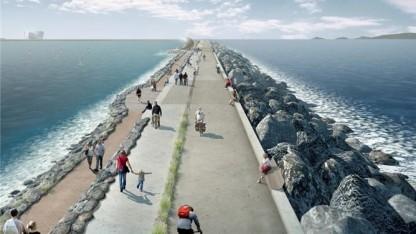 Künstliche Lagune: 9 km lange Mauer