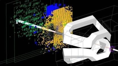 Bild eines Injektionstests, aufgenommen 2009 vom Experiment LHCb: erste Kollisionen im Mai oder Juni