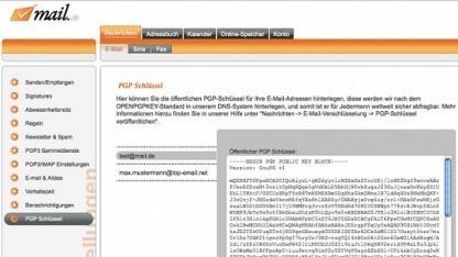 Eine Einbindung von PGP-Schlüsseln im DNS bei Mail.de.