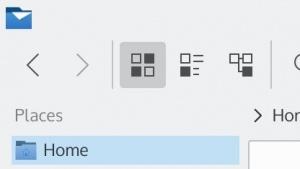 Eine hoch skalierte Darstellung der Oberfläche der Dateiverwaltung Dolphin