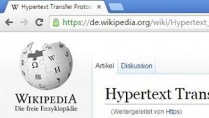 Die Wikipedia-Seiten lassen sich auch verschlüsselt aufrufen.