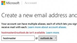So ist es korrekt: Microsoft verweigert das Anlegen einer Hostmaster-Mailadresse.