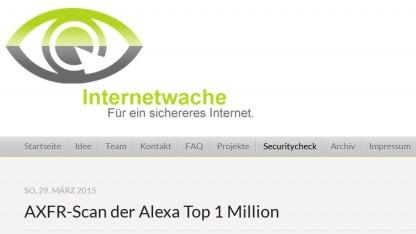 Die Betreiber des Projekts Internetwache haben AXFR-Antworten von DNS-Servern untersucht.