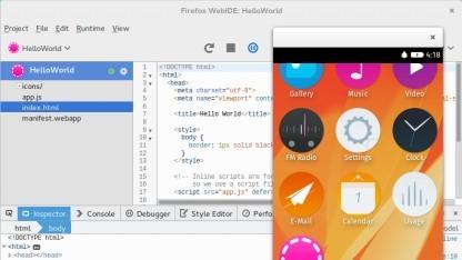 Die WebIDE mit Firefox-OS-Simulator und Hello-World-App