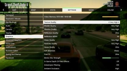 Grafikmenü der PC-Version von GTA 5