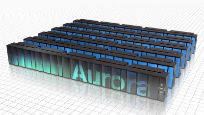 Rendering des Aurora-Supercomputers