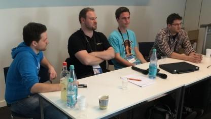 Alexander Zacherl, Kai Rosenkranz, Johannes Roth und Andreas Suitka (v. L. n. R.) auf der Quo Vadis 2015
