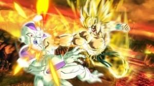 Super-Saiyajin Son-Goku haut den Fiesling Freezer um