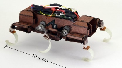 Laufroboter Velociroach: Geschwindigkeit wächst linear mit Schrittfrequenz