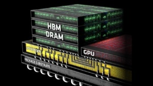 Platine mit GPU und vier HBM-Stacks
