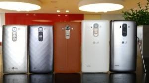 LGs G4-Modelle: Links das G4c, in der Mitte das G4 und rechts das G4 Stylus