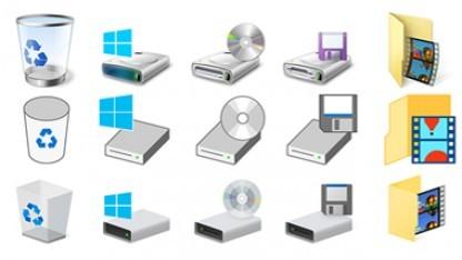 Windows 10 Icons - die aktuellen sind in der untersten Zeile.
