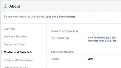 Künftig können Nutzer in ihrem Facebook-Profil einen PGP-Key hinzufügen.