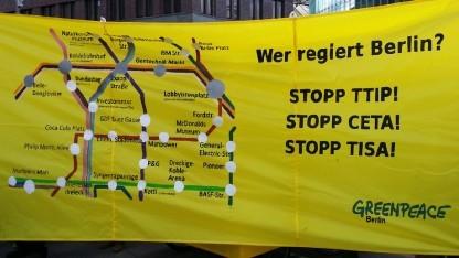 Protest gegen die Freihandelsabkommen TTIP, Ceta und Tisa